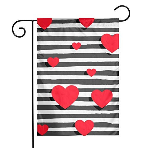 KAWAHATA Background with Hearts and Stripes UV Fade Resistant Garden Flags Custom Vivid Color Home Decoration