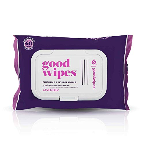 Goodwipes Flushable Butt Wipes, Lavender Scent, Biodegradable with Botanicals, Dispenser for At-Home...