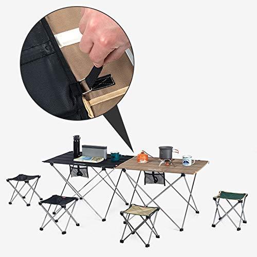 MotBach Mesa Plegable al Aire Libre portátil Camping Senderismo Soporte de Aluminio Dos mesas se Pueden empalmar Mesa Plegable (Color : Black, Size : Large)