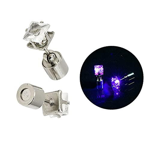 haiqingqin Pendientes luminosos cuadrados de mujer LED para mujer, deslumbrantes pendientes para DJ Party Bar, Zinc,