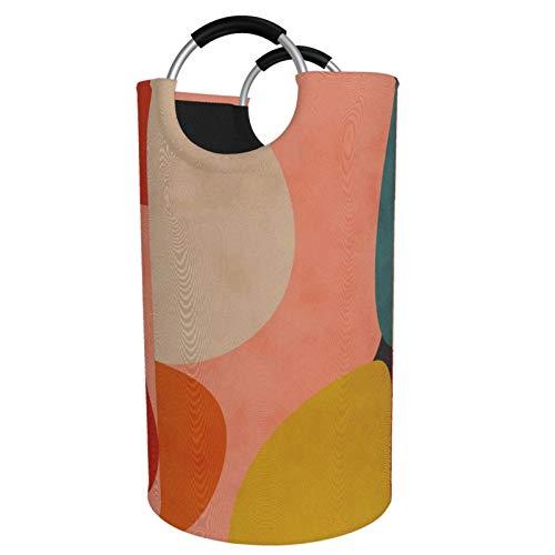 Großer faltbarer Wäschekorb, Geometrie-Form, aus organischem Rouge, Curry, Blaugrün, Schmutzwäsche, Aufbewahrungskorb für Spielzeugsammlung, Oxford-Stoff mit stilvollem Design