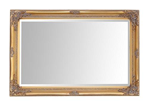 Espejos seleccionados Rhone Espejo de pared grande - Estilo barroco antiguo - Madera maciza - Acabado a mano - Oro antiguo - 60 cm x 90 cm