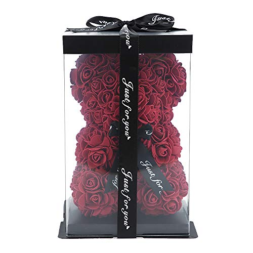 ZS-Juyi Rose Flower Bear -16 Inches Tall -Over 200+ Flowers on Every Rose Bear - Propose,Anniversary's, Birthdays, Bridal Showers,Valentine's Day,Mothers - Clear Gift Box Included (Wine Red)