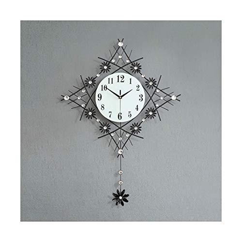 SHUNFENG-EU Reloj de Pared oscilante, Reloj de Pared de Metal Creativo, sin perforación de la Campana Decorativa de Silencio, Esfera Digital árabe, Adecuado para Sala de Estar, Dormitorio