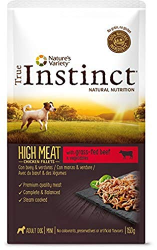 True Instinct High Meat Wet Adult Mini - Nature's Variety - Paté con Buey y Verduras para Perros Mini - 8 X 150G - Total 1,2Kg