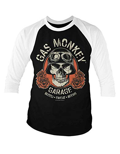 Gas Monkey Garage Baseball T Shirt Skull Logo Nue offiziell Herren 3/4 Sleeve