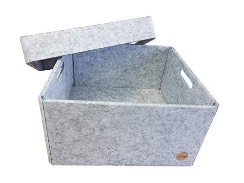VOIGTdesign Aufbewahrungsbox Filz Regalkorb Filzbox Korb Box Allzweckbox mit Deckel (5 Größen) (Gr. M - 32x32x17cm)