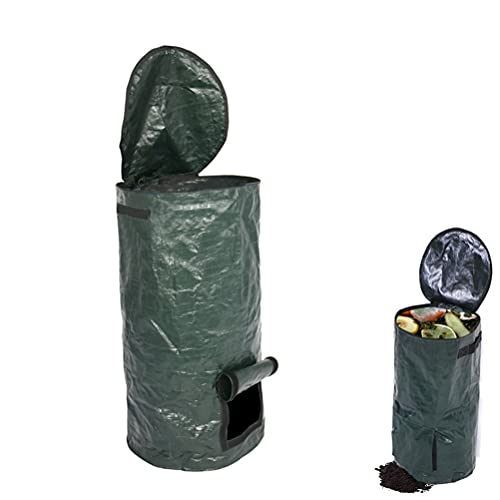 buycheapDG(JP) 堆肥 バッグ ゴミ処理 堆肥作り ガーデンバッグ ガーデンバケツ 減量 エコ ガーデンビン 簡単に処理 容器 コンポスト 食品廃棄物 防臭 家庭菜園 有機肥料 PEの布製 発酵バッグ 35*60cm 肥料 家庭の生ゴミ