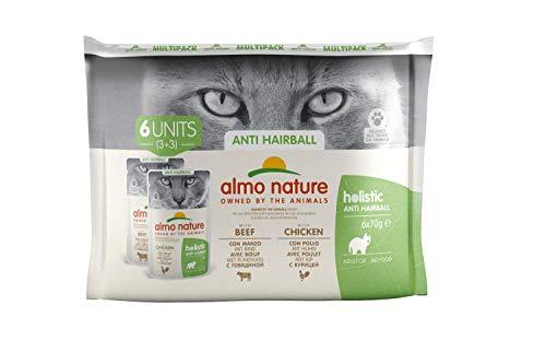 almo nature Holistic Anti Hairball Multipack con Manzo & con Pollo Cibo Umido Gatto Adulto 6 x 70g cad (Buste)