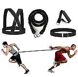 YNXing 4-PCS Bungee Resistance Cord Set Fit Solo o Partner Ottimo per Taekwondo Hockey Tennis Calcio Basket Scherma Salti Verticali Movimento Laterale Sprint Sovravelocità Allenamento (Nero-6.6ft)