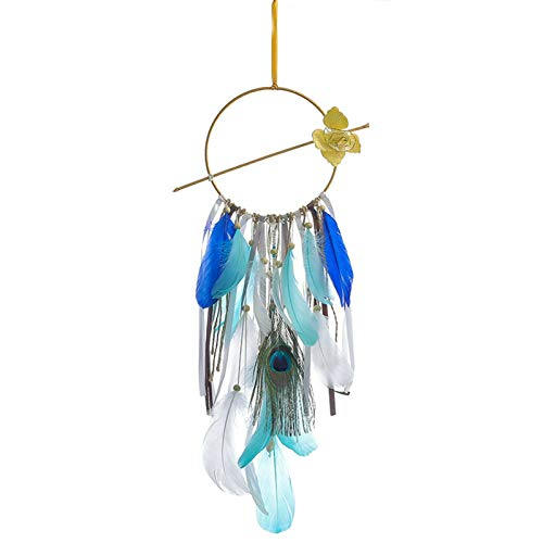 crazerop Atrapasueños con plumas colgantes, decoración de pared, decoración de pared, decoración para el hogar, regalo para baby shower, decoración del hogar, boda, color azul