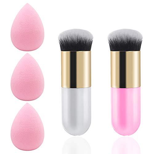 Pennello per fondotinta 2 pezzi, pennello per trucco DanziX con 3 spugne per trucco usato per fondotinta blush correttore in polvere crema-rosa, bianc