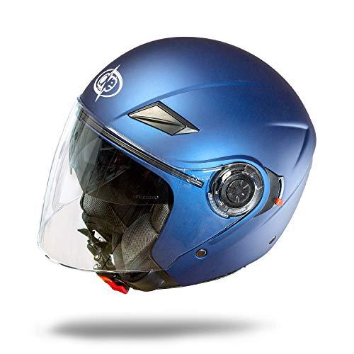 One by Camamoto - Código 77446037 - Casco alfa jet/demi jet de doble visera homologado para moto/scooter de color azul mate, talla M, contorno de sien (57-58 cm)