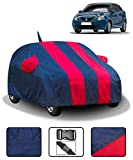 Fabtec Car Body Cover for Maruti Baleno with Mirror Antenna Pockets (Full Sized, Full Bottom Elastic, Red & Blue Stripe Design)