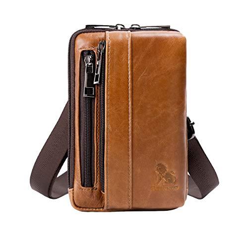 Leathario Bolso Cinturón de Piel Riñonera para Hombre, Pequeña Bolsa de Bandolera para Múltiples Ocasiones como Viajes, Visitas, Exposiciones y Trabajo