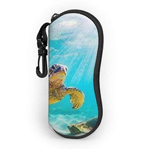 Funda de Gafas Tortuga verde hawaiana en el agua de mar Ultra Ligero Neopreno Suaves viaje Estuche para Gafas de caso Bolsa con Clip de Cinturón