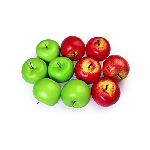 10 piezas de manzanas artificiales Frutis falsos, manzanas realistas de tamaño normal Manzanas falsas para la decoración navideña de Kichen Party (5 piezas de manzana roja + 5 piezas de manzana verde)