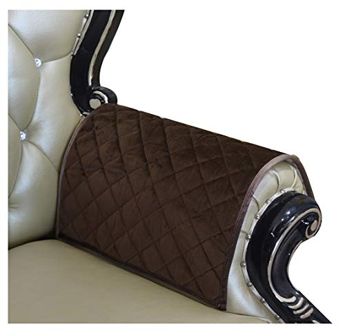 HAOMAIJIA Sofa Armrest Cover, Recliner Chair Arm Cover,Armchair Slipcover Nonslip Quilted Furniture Protector for Leather Sofa Couch (ALatte, 20 x24 Inches Sofa Armrest Cover-2 Pieces)