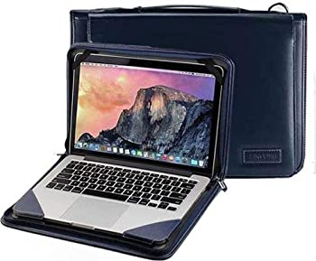 Broonel Blue Leather Laptop Messenger Case - Compatible with The ASUS C201PA-DS02 11.6 inch Chromebook