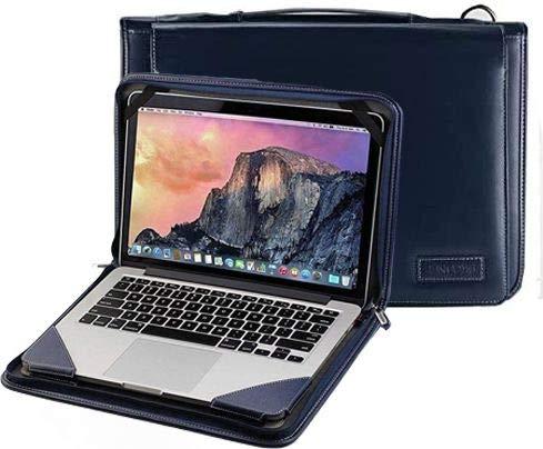 """Broonel Estuche De Viaje De Cuero Azul para Computadora Portátil - Compatible con la DELL Inspiron 13-7391 13 """"Full HD Black Convertible Touch Laptop"""