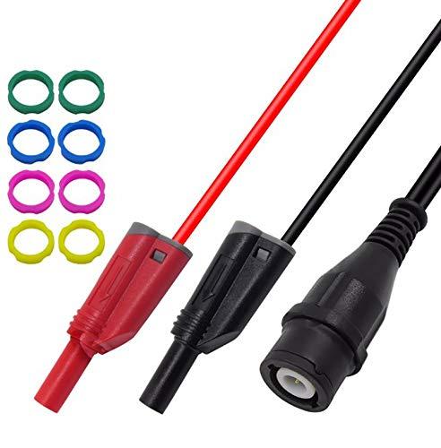 WOVELOT P1204 Bnc Enchufe Macho a 4Mm de Apilamiento Enchufe de Banana Cable Coaxial Osciloscopio de Prueba Cable 120Cm: Amazon.es: Bricolaje y herramientas