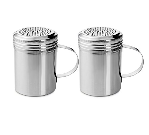 New Star Foodservice 28485 Stainless Steel Dredge Shaker with Handle, 10-Ounce, Set of 2