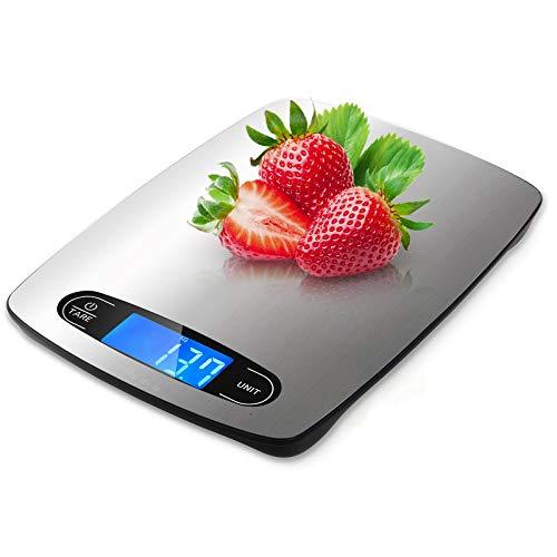 HOMTORA digitale Küchenwaage 5kg,edelstahl Waage Küchenwaage mit großem LCD Display und TARA Verfahren,Digitalwaage Gewicht Gramm 1g Richtigkeit(Modischer Kuchenwaage)