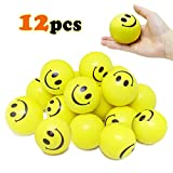 Vcostore Smile Face Stress Balls, 12 Pack of Yellow Funny Squeeze Balls Bulk