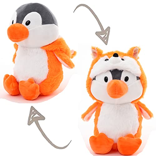 Cute Penguin Stuffed Animals Cosplay as Orange Fox Plush Toys Soft Penguin Toy in Lowrie Costume, Great Plushies Toys Stuffed Animal for Birthday, Valentine, Christmas