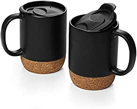 DOWAN Coffee Mugs Set of 2, 15 OZ Ceramic Mug with Insulated Cork Bottom and Splash Proof Lid, Large Coffee Mug with Handle for Men, Women, Matte Black
