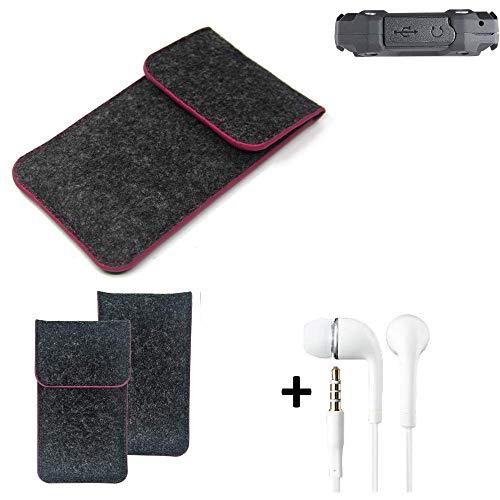 K-S-Trade® Filz Schutz Hülle Für Simvalley Mobile SPT-210 Schutzhülle Filztasche Pouch Tasche Handyhülle Filzhülle Dunkelgrau Rosa Rand + Kopfhörer
