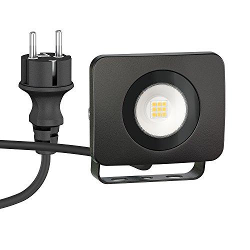ledscom.de LED Wand-Strahler Wega für außen, schwarz, 10W, 800lm, warm-weiß