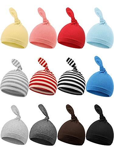 Syhood 12 Pieces Newborn Hat Autumn Winter Baby Knot Beanie Baby Boys Girls Hats 0-6 Months