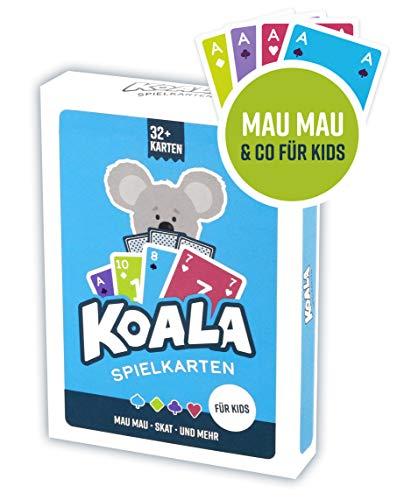 Kinder Kartenspiel Koala Spielkarten Mau Mau, Skat, UVM. 32+ Karten geeignet für 2-4 Spieler für Kinder ab 6 Jahren Mitbringsel Geschenk für Mädchen & Jungen