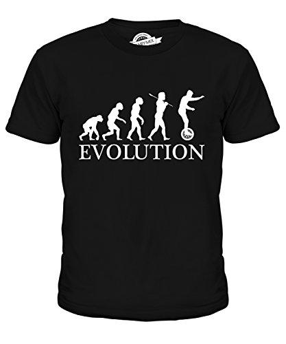 Candymix Einrad Evolution des Menschen Unisex Jungen Mädchen T Shirt, Größe 6 Jahre, Farbe Schwarz
