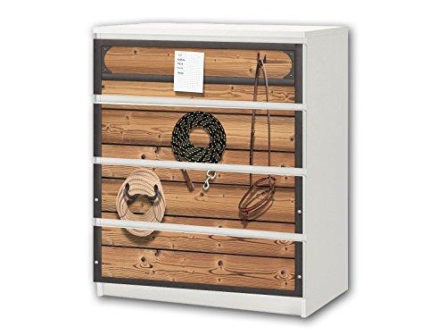 STIKKIPIX Pferdewelt Möbelsticker/Aufkleber - M4K22 - passend für die Kommode mit 4 Fächern/Schubladen MALM von IKEA - Bestehend aus 4 passgenauen Kinderzimmer Möbelfolien (Möbel Nicht inklusive)