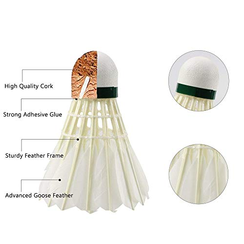 HyAdierTech Badminton Shuttlecock, Advanced Goose Feather Shuttlecocks, 12Pcs Feather Shuttlecocks Training Badminton Balls for Indoor Outdoor Sports Training (Type 3)