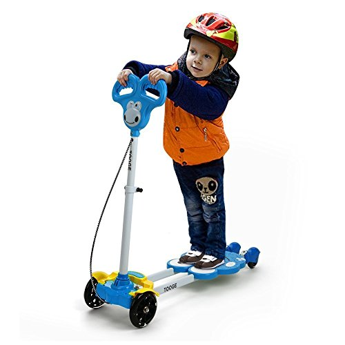 Tooge Four Wheel Scooter in Cute Frog Shap for Kids with Flash and Music, Powered by Riders' Movement, Safe and Secure(Blue)