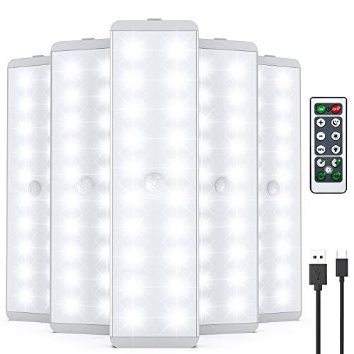 LED Schrankleuchten, 20 LED Sensor Licht mit Bewegungsmelder, USB-wiederaufladbar Beleuchtung unter dem Schrank mit Fernbedienung, kabellos, für Treppen, Kleiderschrank, Küche, Flur (5 Stück)