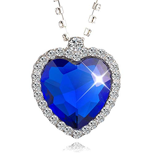Heart of Ocean Crystal Pendant Necklace Titanic Necklace for Women Gift