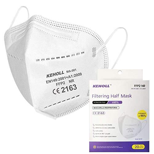 Máscaras Ffp2 Certificación CE 5 Capas Máscara Ffp2 Filtros 95% a través de Las Orejas sin válvula Paquete de 20 Piezas