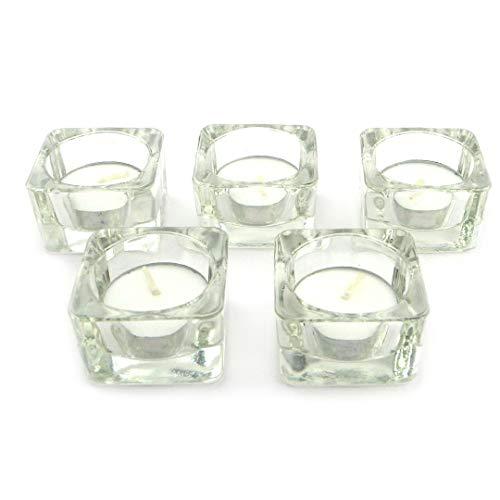Sepkina Zeitlose Teelichthalter Teelichtgläser Kerzenhalter Tischdeko Teelichter Deko-Set Glaswürfel Glas zeitlos (5)