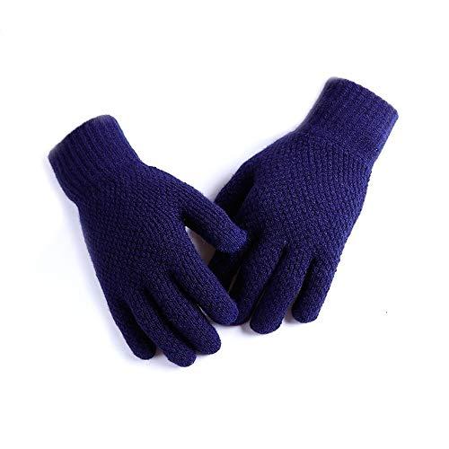 Ylanmg Invierno pantalla táctil guantes calientes de punto elástico de las mujeres de los hombres espesa el Guante de sólidos manoplas Finger a todo color ( Color : Azul , Gloves Size : One Size )