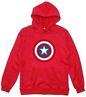 DYM Sweatshirt Child Hoodies Captain America 3D Print Avengers Cosplay Hooded Sweaters Long Sleeve Sweatshirts Red-140 (Size : 120)