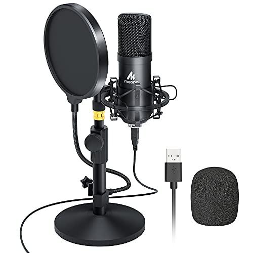 Kit de micrófono USB 192KHZ / 24BIT MAONO AU-A04T Micrófono Condensador Profesional Plug & Play para PC, MAC y PS4, Microfono para Gamer, Podcast, YouTube, Grabación, Streaming