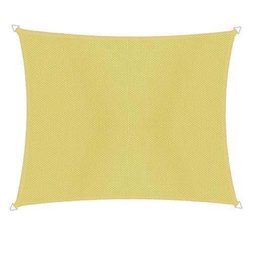 Windhager 10745 Voile d'ombrage rectangulaire 3 x 4 m Protection Solaire pour Jardin et terrasse, résistant aux UV et aux intempéries Jaune