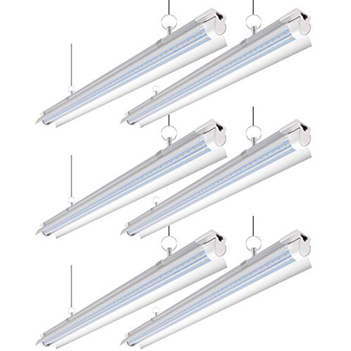 Barrina LED Shop Light with Reflector, 40W 5000LM 6500K, 4FT T8 Integrated Light Fixture, LED Light Tube, Daylight White, Clear Cover, High Output, Shop Lights for Garage, V Shaped(Pack of 6)