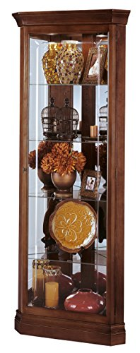 Howard Miller Brown Corner Curio Cabinet 547-168 – Windsor Cherry Glass Case with Light