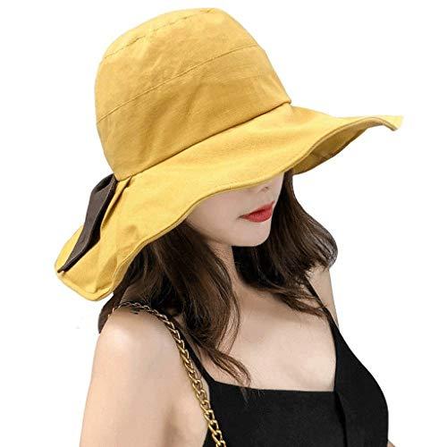 SPNEC Sombreros de Sol de algodón para Mujer, con Borde de Barbilla, Borde Ancho, Elegante (Color : A)