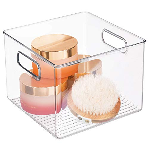 Price comparison product image InterDesign Linus Square Storage / Organiser Box with Handles,  Made of BPA-Free Plastic,  Clear